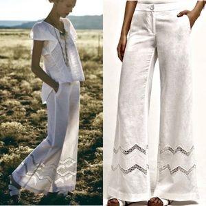 Anthropologie NEW Elevenses Linen Crochet Pants